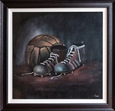 "Tough as Old Boots original FRAMED oil painting - on canvas board 20""x20"""